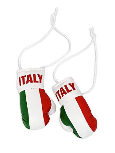 Mini-Boxhandschuhe mit italienischer Flagge. - Weiß -