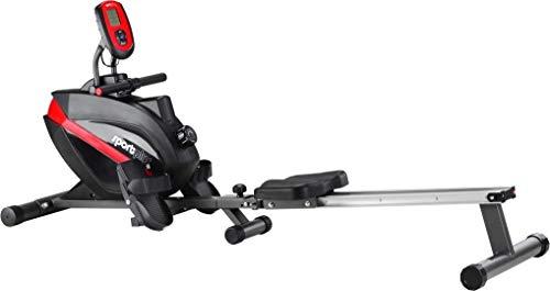 SportPlus Rudergerät klappbar für zuhause, TÜV geprüft, leises & wartungsfreies Magnetbremssystem, kugelgelagerter Rudersitz, Trainingscomputer, Nutzergewicht bis 150 kg, SP-MR-008-B