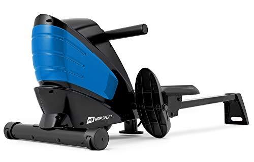 Hop-Sport Rudergerät HS-060R Ruderzugmaschine mit Computer & Magnetbremssystem klappbar geräuscharm 8 Widerstandsstufen Transportrollen (Blau)