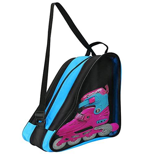 PERFETSELL Inliner Tasche Erwachsene Rollschuhetasche Blau Ice Skate Eishockey Bag Skischuhtasche mit Verstellbar Trageriemen Schlittschuhtasche Tasche für Eishockeyschlittschuhe für Herren Damen