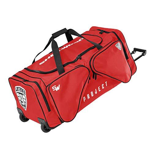Sherwood Unisex– Erwachsene Eishockeytasche Project 9 mit Rollen I Transporttasche für Eishockeyausrüstung inkl. Tragegurte I geeignet für Eishockeyschläger, Rot, 90 x 42 x 38 cm, 144 Liter