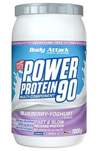 Body Attack Power Protein 90, Blueberry Yoghurt, 1 kg, 5K Eiweißpulver mit Whey-Protein, L-Carnitin und BCAA für Muskelaufbau und Fitness