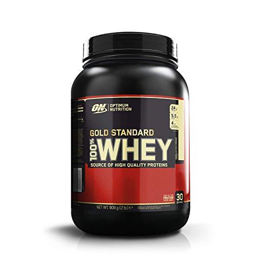 Optimum Nutrition ON Gold Standard Whey Protein Pulver, Eiweißpulver zum Muskelaufbau, natürlich enthaltene BCAA und Glutamin, Vanilla Ice Cream, 30 Portionen, 908g, Verpackung kann Variieren