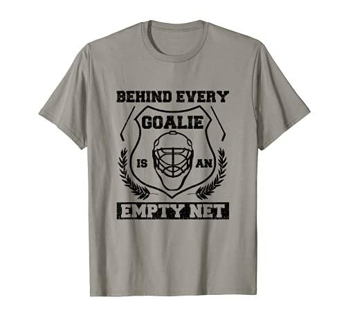 Hockey Torwart hinter Torwart leer Netz Eishockey T-Shirt
