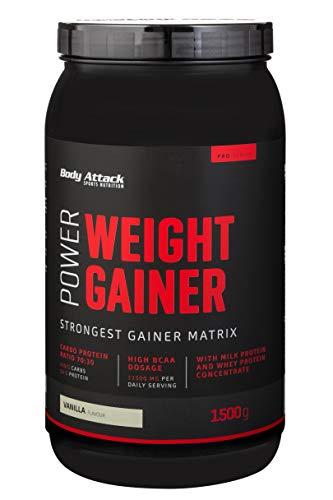 Body Attack Power Weight Gainer, Vanille, 1,5 kg, 100% Masseaufbau, Kohlenhydrat-Eiweißpulver zum Muskelaufbau mit Whey-Protein, ideal für Hardgainer