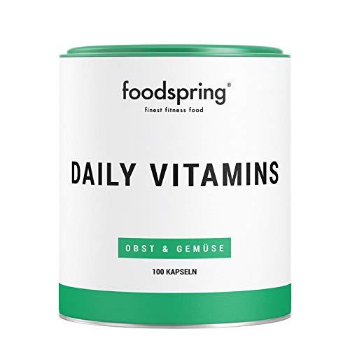 foodspring Daily Vitamins, 100 Kapseln, Vitamine aus echtem Obst und Gemüse für jeden Tag, Hergestellt in Deutschland