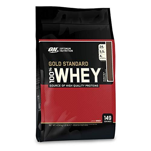 Optimum Nutrition ON Gold Standard Whey Protein Pulver, Eiweißpulver zum Muskelaufbau, natürlich enthaltene BCAA und Glutamin, Double Rich Chocolate, 149 Portionen, 4,54kg, Verpackung kann Variieren