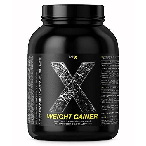 base X nutrition, WEIGHT GAINER, optimum Protein / Kohlenhydrate Basis für schnellen Masse- u. Muskelaufbau, 750g Dose Vanille