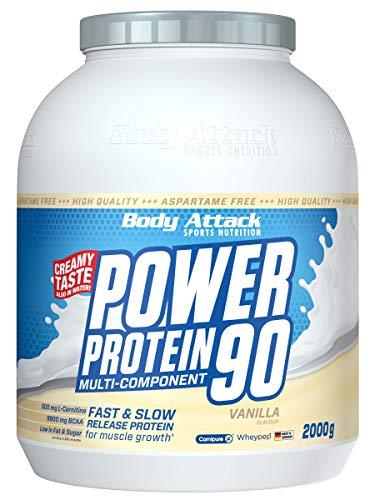 Body Attack Power Protein 90, Vanille, 2 kg, 5K Eiweißpulver mit Whey-Protein, L-Carnitin und BCAA für Muskelaufbau und Fitness