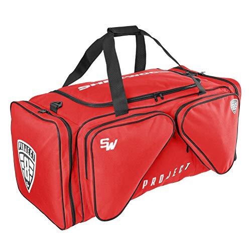 Sherwood Unisex– Erwachsene Eishockeytasche Project 8 I Transporttasche für Eishockeyausrüstung inkl. Tragegurte I geeignet für Eishockeyschläger, Rot, 90 x 42 x 38 cm, 144 Liter