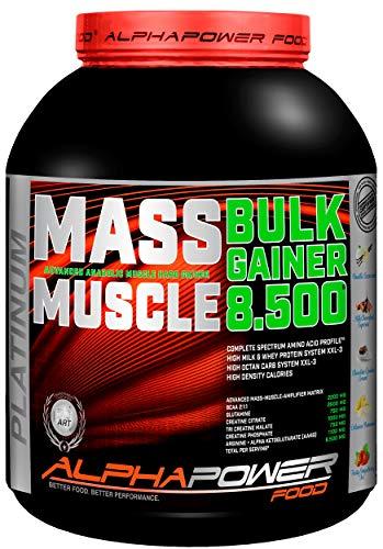 ALPHAPOWER FOOD Maas - Whey, Muscle Weight Gainer I Mega, Muskelmasse & Muskelaufbau - Protein - Eiweiß, Kohlenhydrate – Pulver - Shake für Hardgainer, 5kg Vanille + Creatin, Bcaa, MCT Öl