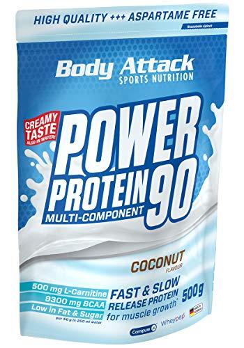 Body Attack Power Protein 90, Coconut Cream, 500g, 5K Eiweißpulver mit Whey-Protein, L-Carnitin und BCAA für Muskelaufbau und Fitness