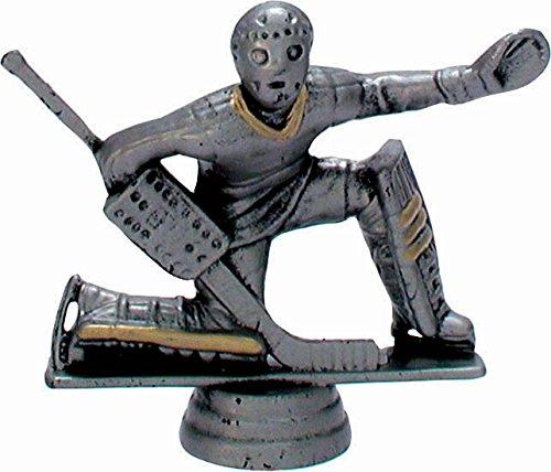 RaRu Eishockey-Pokal (Torwart) auf weißem Marmorsockel montiert mit Wunschgravur (34128)